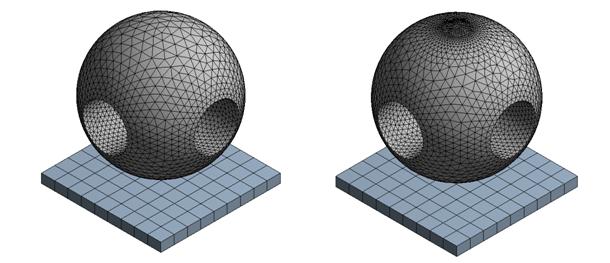 ANSYS Различные сетки для моделирования удара шара из поликарбоната