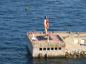 Photo: Big half-skeleton pregnant lady in  Fontvieille harbour