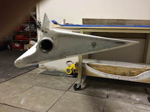 Photo: Right aileron balance check.  Right in the middle of top side level and bottom side level.  Still needs paint, but it will be in tolerance.