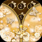 App Gold Butterfly Diamond Zipper Lock APK for Windows Phone