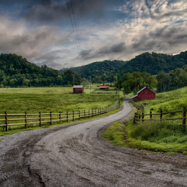 Blackburn Fork Road by Christopher Nelson - Landscapes Prairies, Meadows & Fields ( landscapes, country, mountain, nature, road, barns, fields, scenic, naturetennessee )