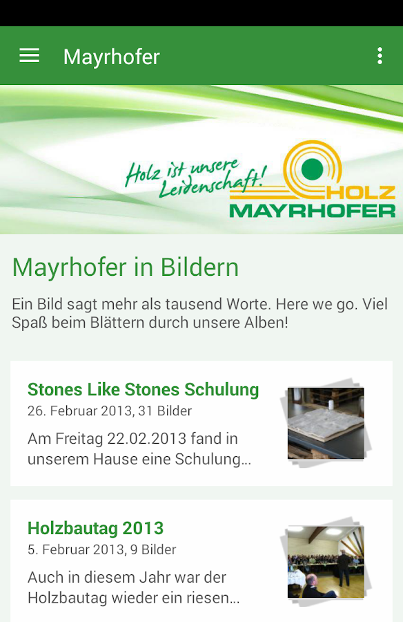 Holz Mayrhofer GmbH- screenshot