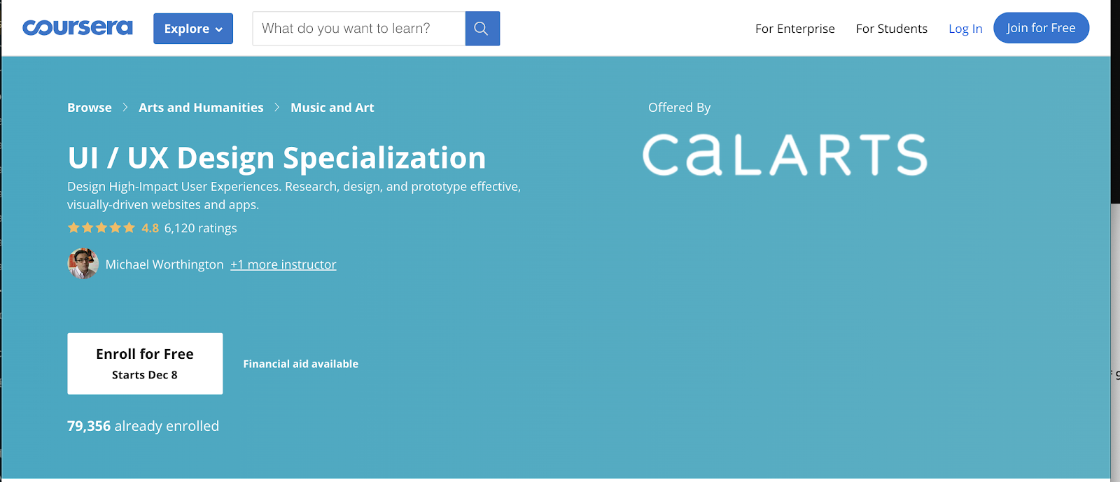 Banner for the Calarts UI/UX Design Specialization course on Coursera.