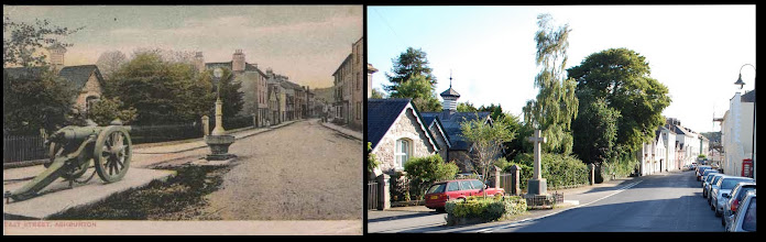 Photo: Ashburton, East Street, looking down into the town centre  Card: Chapman, date unknown  The canon memorial has long gone, replaced by a more 'standard' cross - I rather like the canon! Otherwise (absent the ever-present traffic and the growing trees) the view remains much the same.