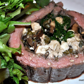 Flank Steak Stuffed with Mushrooms, Spinach, Capers and Feta