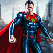 Flying Superhero Man Fighting City Rescue Mission