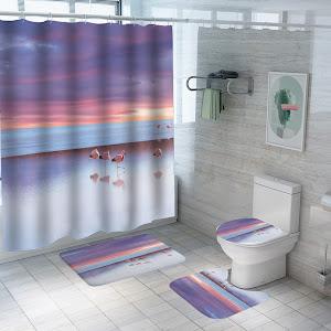 Set pentru baie: perdea, covorase si husa de toaleta, Sunset