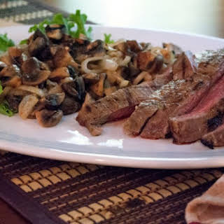 Flank Steak with Roasted Mushrooms and Onions.