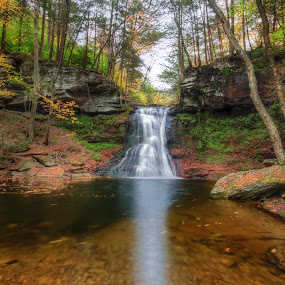 Sullivan Falls in Autumn by Aaron Campbell - Landscapes Waterscapes ( stategamelands13, nature, sullivanfalls, autumn, waterfall, fall, slowshutter, pennsylvania, sullivancounty )