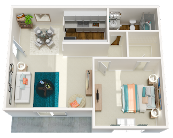 Go to One Bed, One Bath Renovated EC Floorplan page.