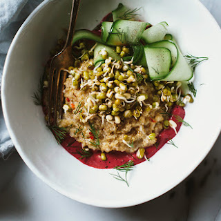 Sprouted Mung Bowl with Coconut Quinoa Beet Tahini