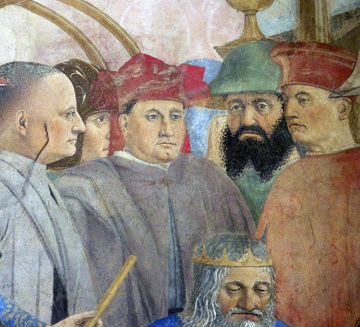 Piero della Francesca, Le Storie della Vera Croce, Battaglia di Eraclio e Cosroè, (nel gruppo intorno a lui si ravvisano i ritratti di famiglia dei Bacci, committenti del ciclo