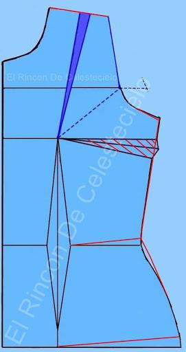Eliminando en el costado pinza de costado de busto pequeña en el patrón básico
