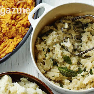 Celeriac Mash With Blue Cheese And Sage.
