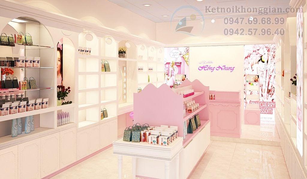 thiết kế cửa hàng mỹ phẩm, thiết kế shop mỹ phẩm