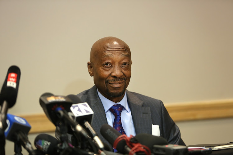 Suspended Sars Commissioner Tom Moyane during a press conference in Illovo. Picture: ALON SKUY