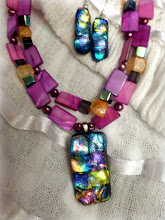 Photo: # 229 Glass pendant & earrings, shell, crackle quartz, freshwater pearls, silver plate $90 SOLD
