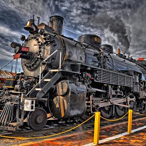 Grand Canyon Railway Locomotive 4960 by Stephen Botel - Transportation Trains ( clouds, steam engine, railroad tracks, train station, locomotive, arizona, williams, tender, train, grand canyon railway., engine 4960, steam )