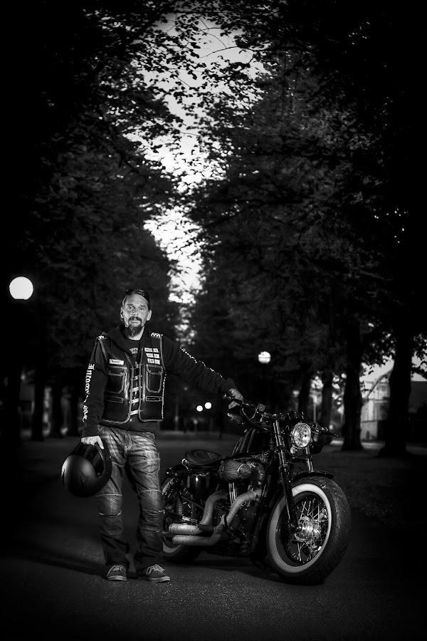 by Jerry Sjödin - People Portraits of Men ( harley, harley davidson, black background, bike, biker, hd, helmet, man, black )