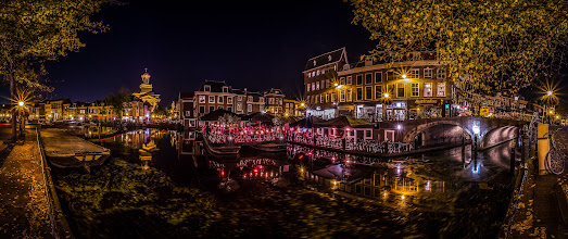 Photo: A late #summer #evening   in #Leiden / #Netherlands   #Panorama #nightphotography #Holland #Gracht