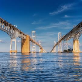 Between the Spans by Carol Ward - Buildings & Architecture Bridges & Suspended Structures ( annapolis, chesapeake bay bridge, reflection, maryland, architecture, bridge )