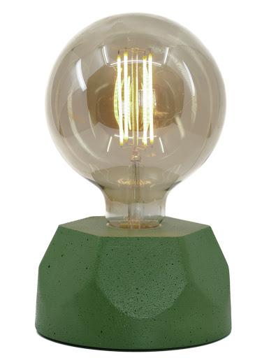 lampe en béton vert design héxagone création  fait-main en atelier français par la créatrice Junny