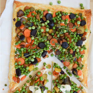 Colorful Carrot and Pea TArt.