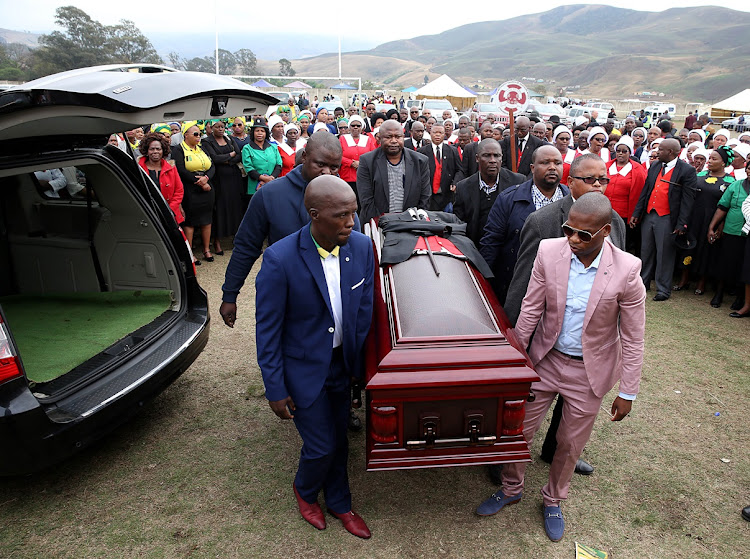 Sindiso Magaqa's body arrives at the Ibiis sports ground in uMzimkhulu, September 16, 2017.