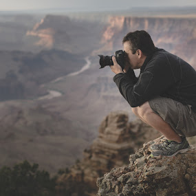 Standing on the Edge of the Grand Canyon by Bryan Snider - People Street & Candids ( edge, photographer, landscape, environmental portrail, people, portrait, grand canyon,  )