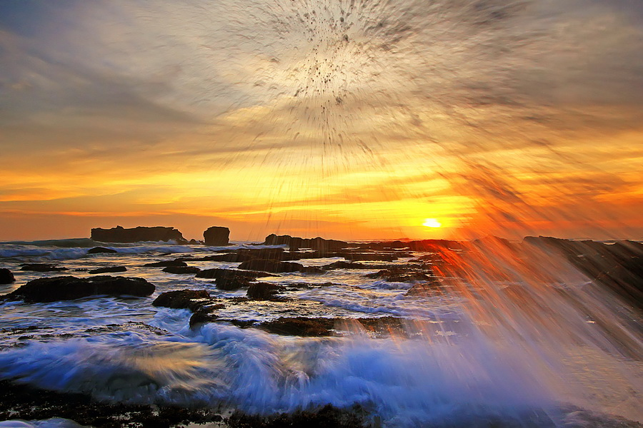 FIRE WORK by Agoes Antara - Landscapes Waterscapes
