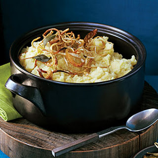 Mashed Potatoes and Parsnips with Crisp Root Vegetable Strips Recipe