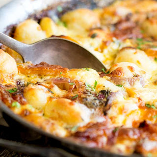 Baked Pumpkin Gnocchi with Thyme and Parmesan #SundaySupper.