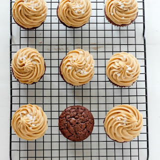 Dark Chocolate Brownie Cupcakes with Salted Caramel Frosting and a Giveaway