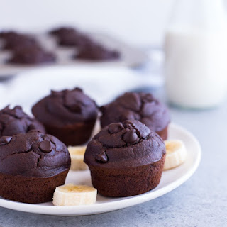Healthy Chocolate Peanut Butter Banana Muffins