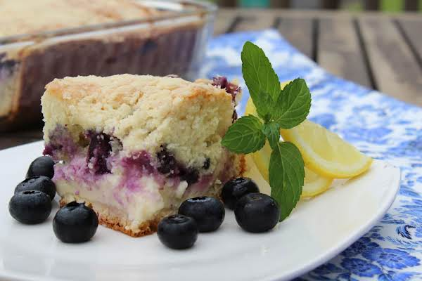 Piece Of Blueberry Cream Cheese Crumb Cake