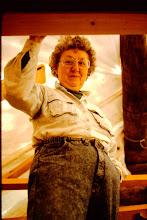 Photo: Lorraine under the tarp.