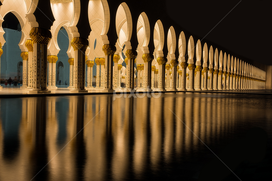 The Great Sheikh Zayed Mosque by Babar Swaleheen - Buildings & Architecture Architectural Detail ( pwcarcreflections, reflection, sheikh, mosque, zayed, architecture, auh, night, lights )