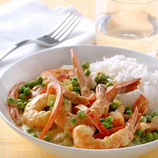 Curry Van Garnalen En Kokos Met Witte Rijst