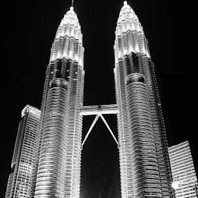 Twin Tower, Petronas by Liang Deoz - Buildings & Architecture Architectural Detail ( black and white, pwcbuilding )