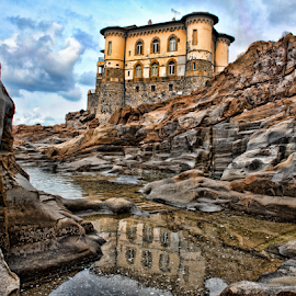 Home in a Castle by Gianluca Presto - Buildings & Architecture Homes ( clouds, water, home, water reflection, reflection, tuscany, cliffs, hdr, sea, architecture, house, sky, ancient home, dramatic, cloudy, castle, livorno, homes, italy, rocks,  )