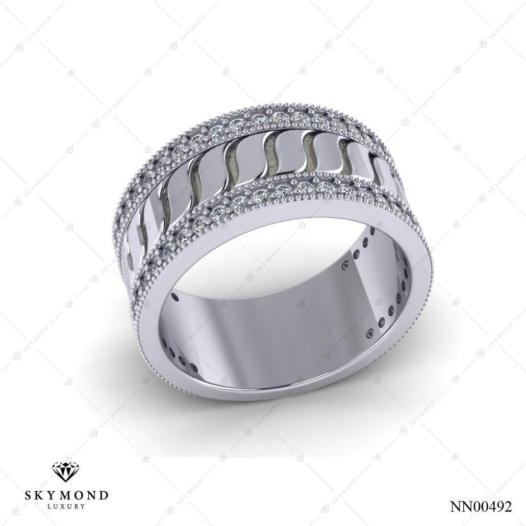 nhẫn nam vàng trắng kim cương nhân tạo