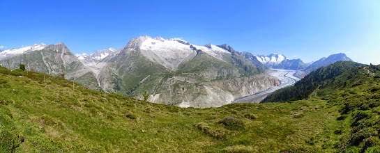 Photo: First view of the Aletsch glacier from the hke
