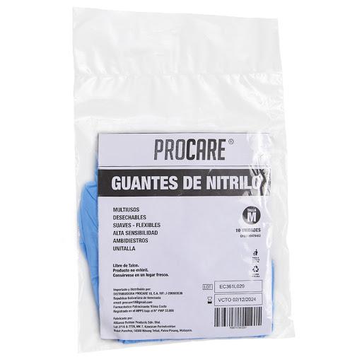 guantes de nitrilo procare m bolsa 10 und