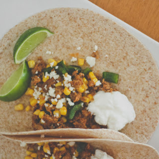 Chorizo, Poblano, and Corn Tacos