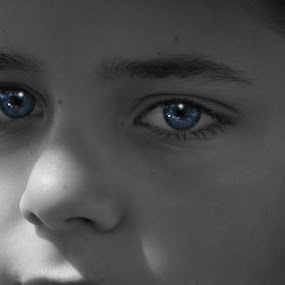Blue Eyed Innocence by Jim Lancaster - Babies & Children Children Candids ( child, face, blueeyes, blue, blue eyes, eyes )