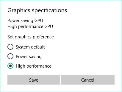 Set the graphics preferences to High Performance and click on the Save button.