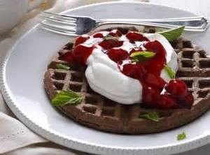 Stack (2) waffles on a Serving Plate, Top with 1/2 of the Whipped Cream,...