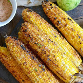 Grilled Corn on the Cob with Spicy Lime Seasoned Salt.