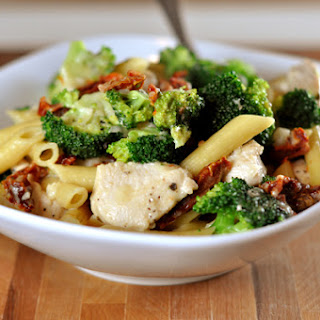 Skillet Chicken Pasta with Broccoli and Sun-Dried Tomatoes.