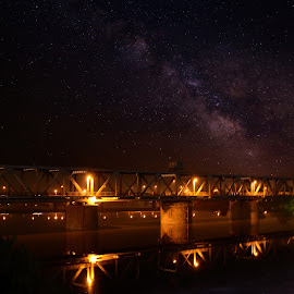 love in night by Kareem Mohamed - Buildings & Architecture Public & Historical ( love, light, night, bridge, galaxy,  )